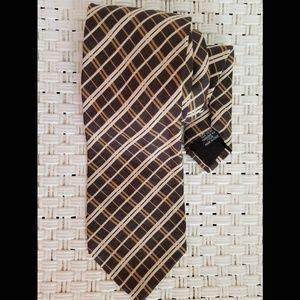Hugo Boss Silk Brown Cream Striped Tie